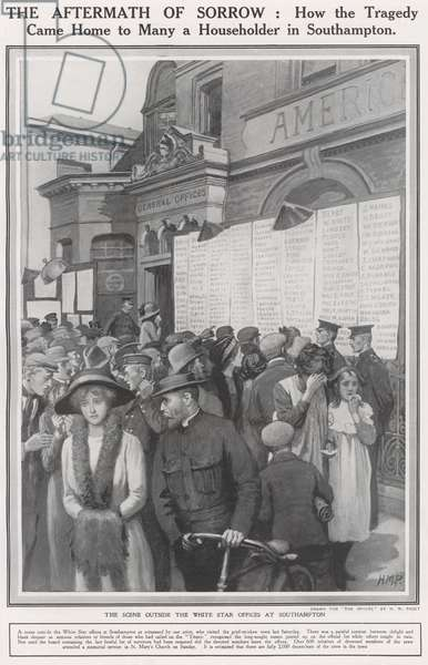 Sinking of The Titanic, The scene outside the White Star offices at Southampton (litho)