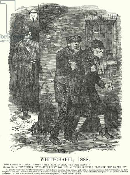 Punch cartoon: Whitechapel, 1888 - the time of the Jack the Ripper murders (engraving)