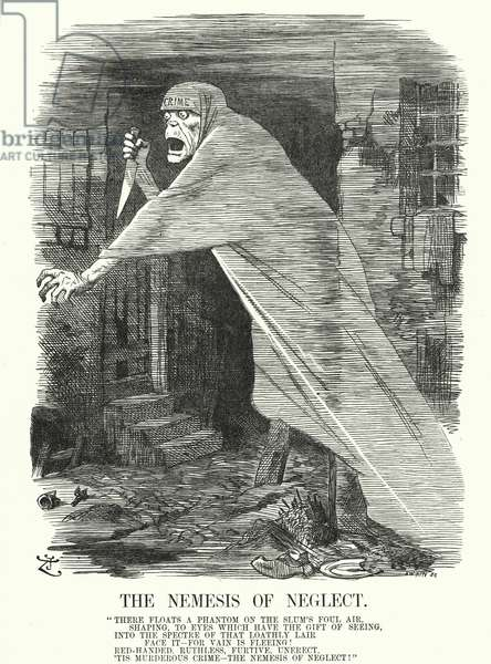Punch cartoon: The Nemesis of Neglect - poverty and crime in London at the time of the Jack the Ripper murders (engraving)