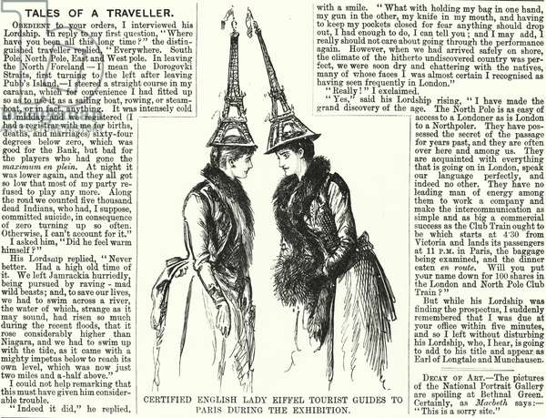 Punch cartoon: Certified English Lady Eiffel Tourist Guides to Paris during the Exhibition - Exposition Universelle, 1889 (engraving)