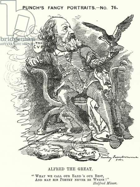 Punch cartoon: Alfred, Lord Tennyson, English poet (engraving)