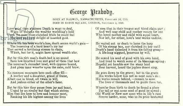 Punch cartoon: poem in memoriam of American financier and philanthopist George Peabody (1795-1869) (engraving)