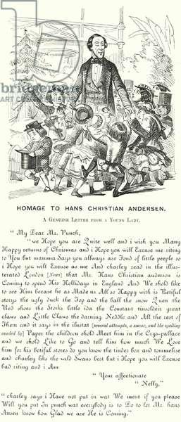 Punch cartoon: Homage to Hans Christian Andersen (engraving)