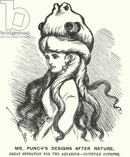 Punch cartoon: Mr Punch's Designs after Nature. Great Sensation for the Aquarium - Coiffure Octopus (engraving)