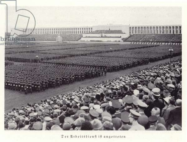 Workers of the Reichsarbeitsdienst (Reich Labour Service) at the Nuremberg Rally, 1936 (b/w photo)