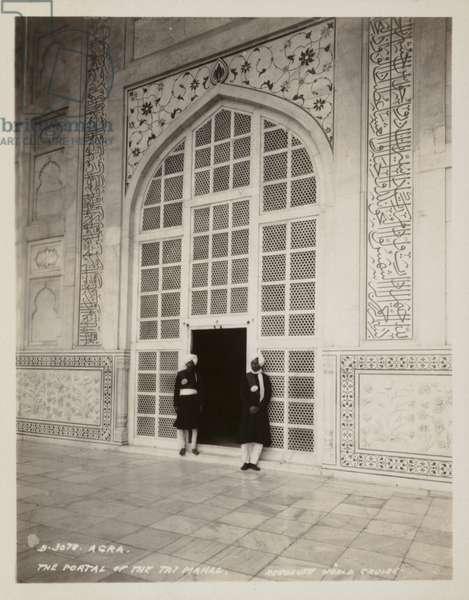 The Portal of the Taj Mahal, Agra (b/w photo)