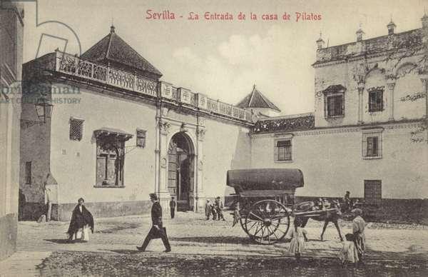 Entrance to the Casa de Pilatos (Pilate's House), Seville, Spain (b/w photo)
