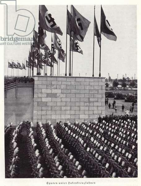 Spades under swastika flags, Nuremberg Rally, 1936 (b/w photo)