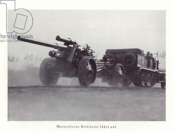 Motorised artillery display, Nuremberg Rally, 1936 (b/w photo)