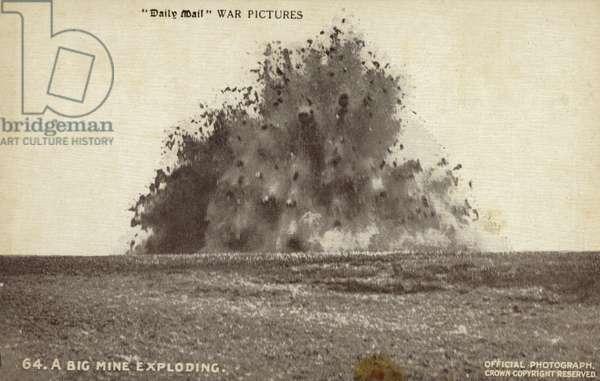 A big mine exploding, World War I (b/w photo)