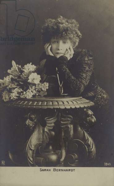 Sarah Bernhardt, French actress, 1880 (b/w photo)