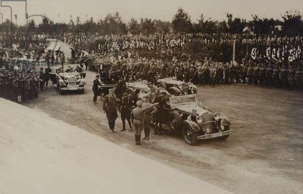 Hitler at the Nuremberg Rally, 1935 (b/w photo)