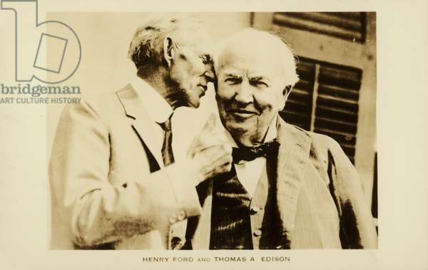 Henry Ford and Thomas Edison (b/w photo)
