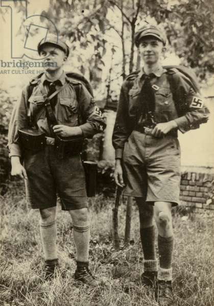 Two members of the Nazi Hitler Youth, Germany, 1930s or 1940s (b/w photo)