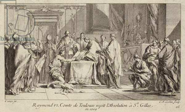 Raymond VI, Count of Toulouse, humbling himself at the Church of St Gilles in order to have his excommunication lifted, 1209 (engraving)