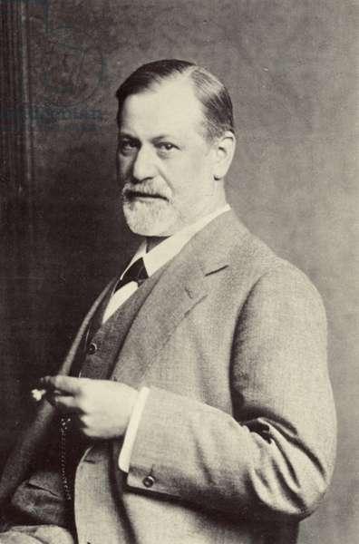Sigmund Freud, Austrian psychoanalyst (b/w photo)