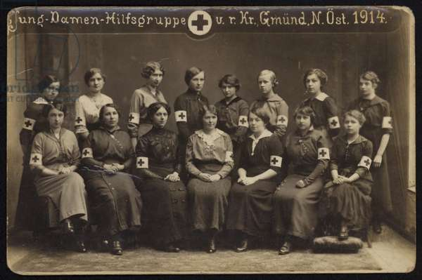 Group of Austrian Red Cross nurses, Gmuend, Austria, World War I, 1914 (b/w photo)