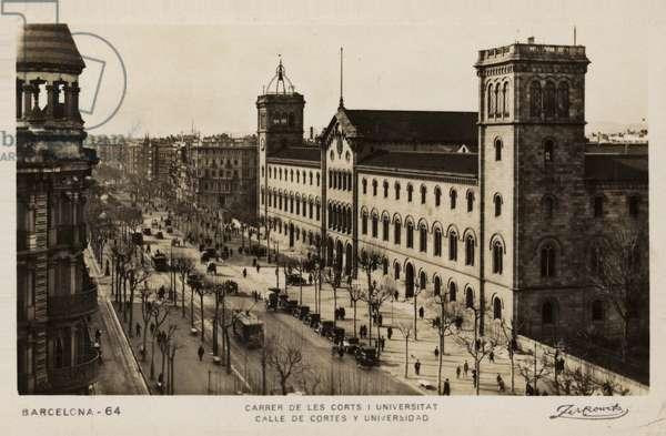 Calle de Cortes and the University, Barcelona, Spain (b/w photo)