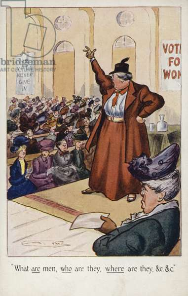 A Suffragette addressing a meeting (colour litho)