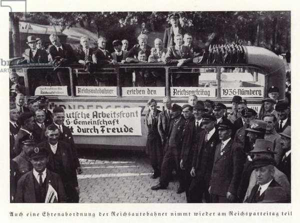 Delegation of motorway workers, Nuremberg Rally, 1936 (b/w photo)