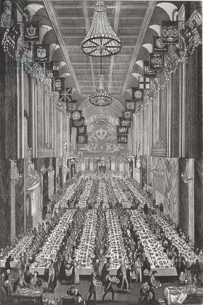 The Royal banquet at Guildhall on 9 November 1837 (engraving)