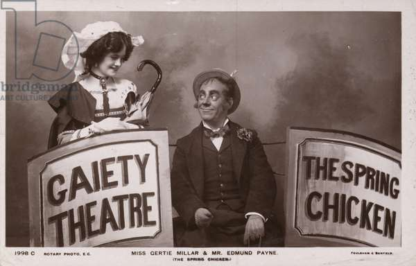 Gertie Millar and Edmund Payne, English stage actors (b/w photo)