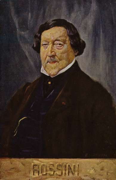Portrait of Gioachino Rossini (colour litho)