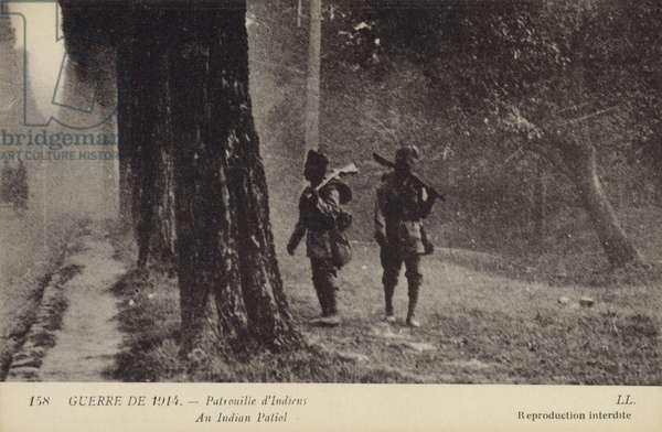 An Indian patrol, World War I, 1914 (b/w photo)