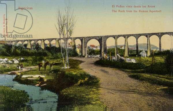 The Rock from the Roman aqueduct, Algeciras, Spain (coloured photo)