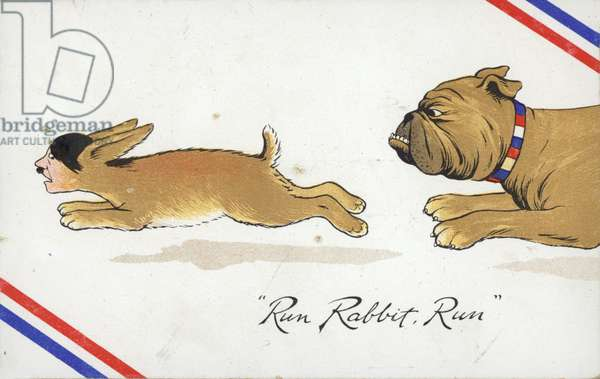 British bulldog chasing Hitler rabbit (colour litho)