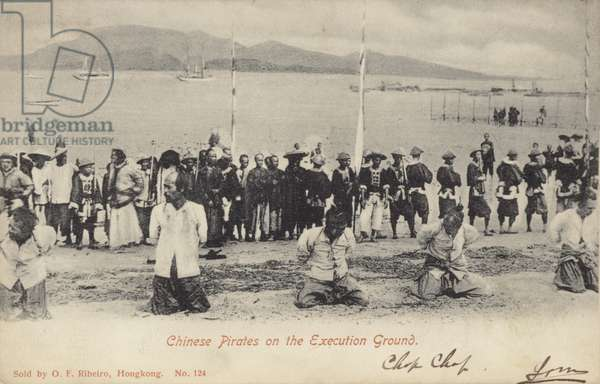 Chinese Pirates on the Execution Ground (b/w photo)