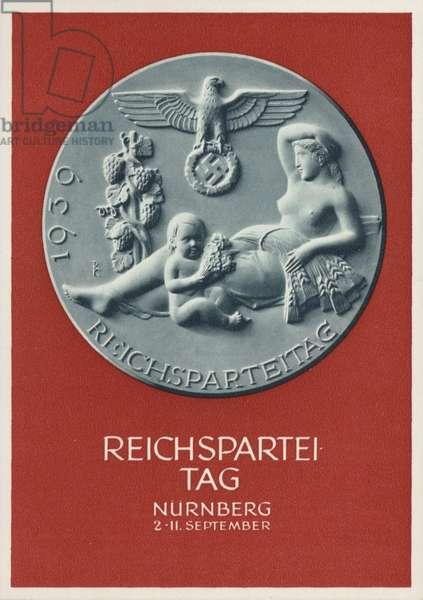 Nuremberg Rally Germany, 1939, Nazi propaganda postcard (colour litho)