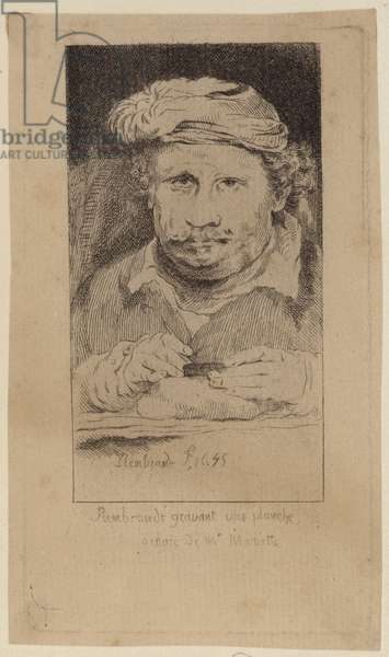 Rembrandt 1645 self portarit in the collection of Mariette (engraving)