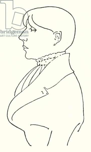 Outline portrait of himself (engraving)