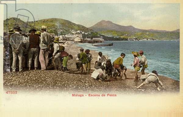 Fishing scene, Malaga, Spain (coloured photo)