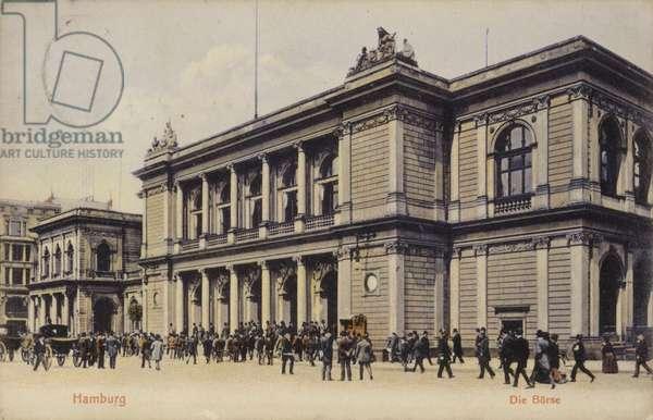 Postcard depicting the Hamburg Stock Exchange (b/w photo)