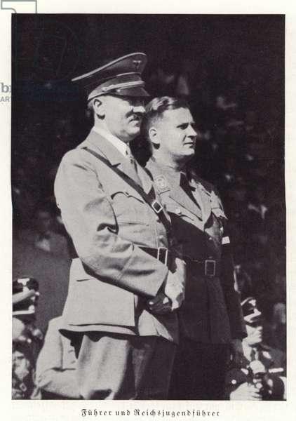 Hitler and Baldur von Schirach, Nuremberg Rally, 1936 (b/w photo)