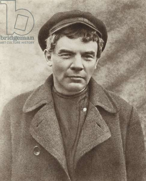 Lenin in disguise, wearing a wig, Razliv Station, August 1917 (b/w photo)