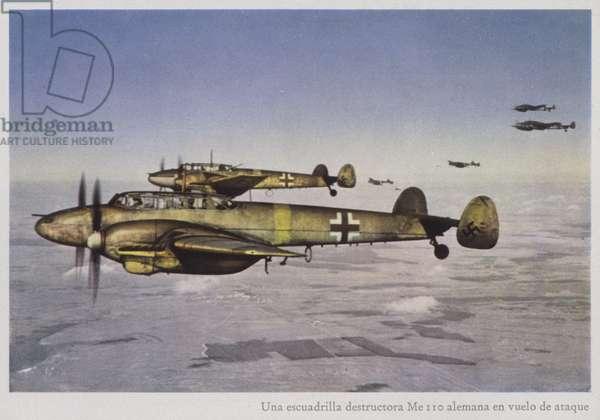 Squadron of German Messerschmidt 110 fighters, World War II (photo)