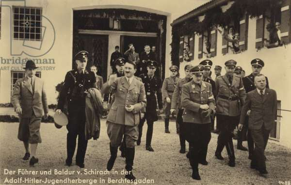 Adolf Hitler and Baldur von Schirach at the Adolf Hitler youth hostel, Berchtesgaden (b/w photo)
