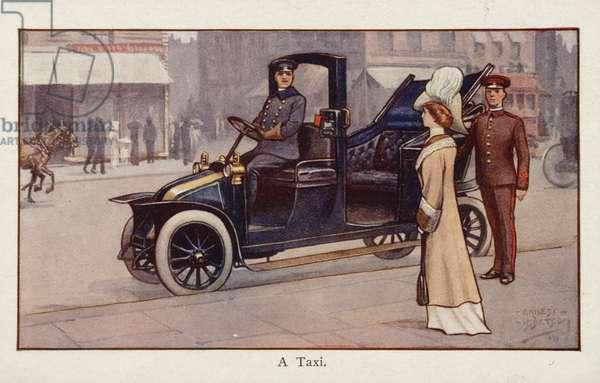 A taxi (colour litho)