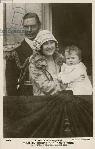 A joyous reunion: The Duke and Duchess of York with baby Princess Elizabeth, 1927 (b/w photo)
