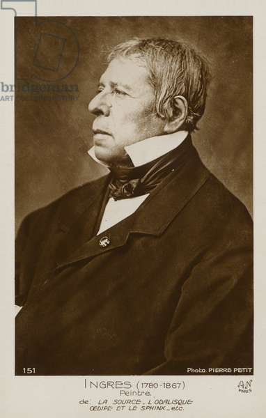 Jean Auguste Dominique Ingres, French painter (b/w photo)