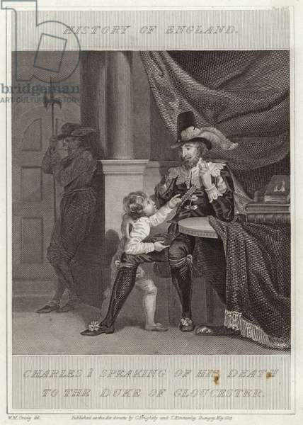 Charles I speaking of his death to the Duke of Gloucester (engraving)
