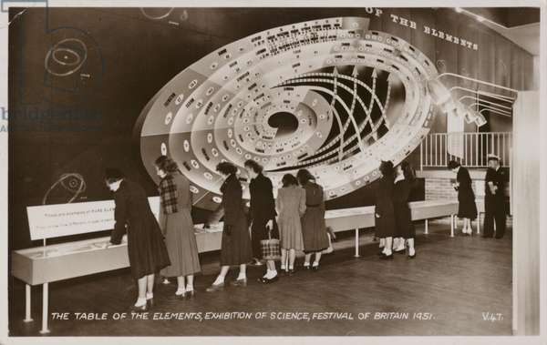 The Table of the Elements, Exhibition of Science, Festival of Britain, 1951 (b/w photo)