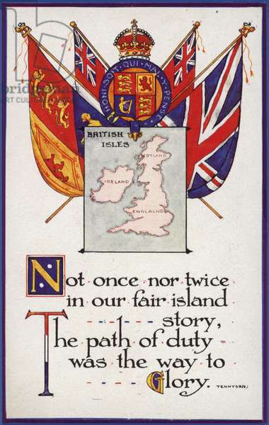 Map of British Isles and Empire flags with Tennyson poem (colour litho)