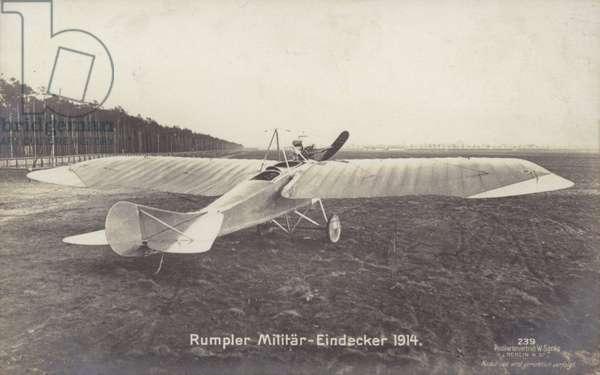 Rumpler military monoplane aircraft, Germeny, 1914 (b/w photo)