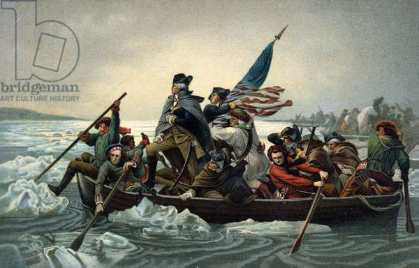 George Washington crossing the Delaware during the American War of Independence, 25 December 1776 (chromolitho)