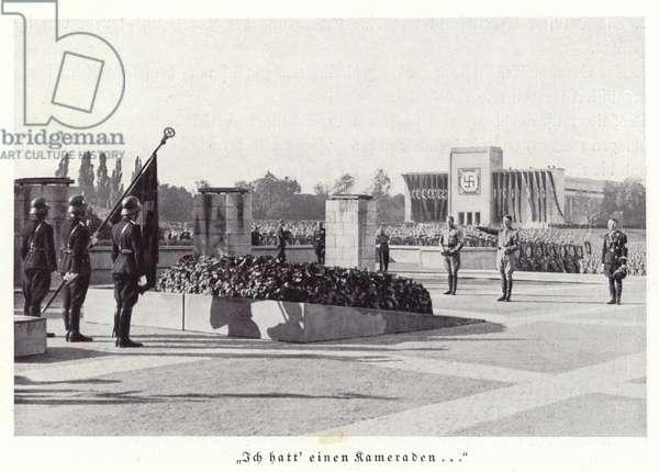 Honouring of the Dead ceremony, Nuremberg Rally, 1936 (b/w photo)