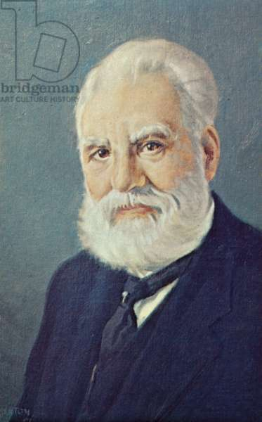 Alexander Graham Bell (1847-1922), Scottish scientist and inventor (colour litho)